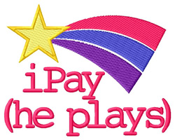iPay (He Plays) embroidery design