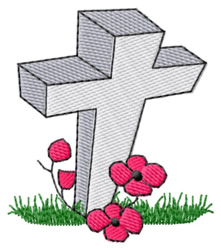 Cross & Poppies embroidery design