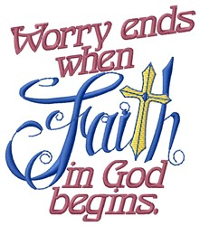 Worry Ends embroidery design