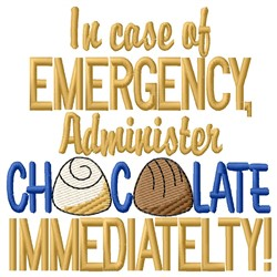 Emergency Chocolate embroidery design