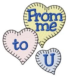 Me To U Hearts embroidery design