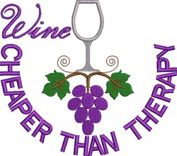 Wine Therapy embroidery design