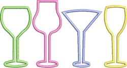 Glasses Outline embroidery design