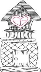 Blackwork House embroidery design