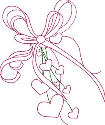 Ribbon & Hearts Outline embroidery design