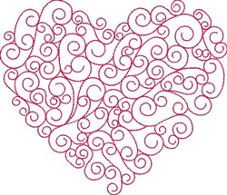 Swirly Valentines Day Heart embroidery design