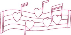 Outline Valentine Music Staff embroidery design