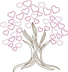Valentines Day Tree Outline embroidery design