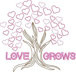Love Grow Valentine Tree embroidery design