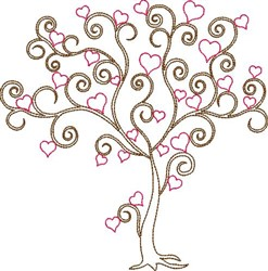 Swirly Valentines Day Tree embroidery design