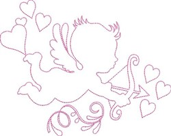 Cupid Outline embroidery design