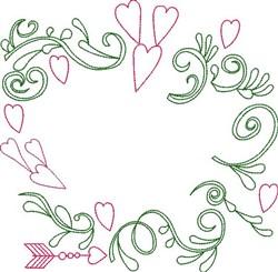 Valentine Border Outline embroidery design