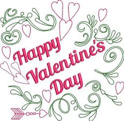Happy Valentines Wreath embroidery design