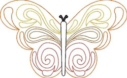 Swirly Butterfly Outline embroidery design