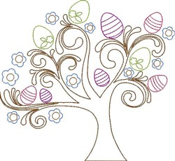 Egg Tree embroidery design