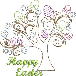 Happy Easter Tree embroidery design