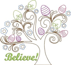 Believe Tree embroidery design