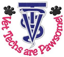 Vet Techs Pawsome embroidery design