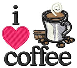 I Love Coffee/Cup embroidery design