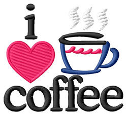 I Love Coffee/Abstract Cup embroidery design