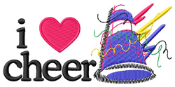 I Love Cheer Megaphone embroidery design