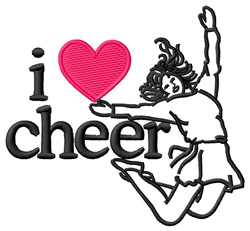 I Love Cheer/Cheerleader embroidery design