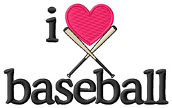 I Love Baseball/Bats embroidery design