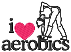 I Love Aerobics/Gal embroidery design