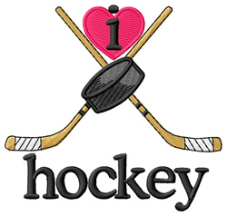 I Love Hockey/Crossed Sticks embroidery design