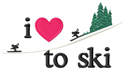 I Love to Ski/Downhill embroidery design