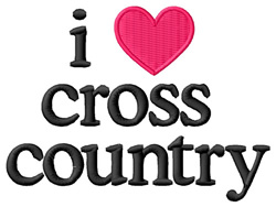 I Love Cross Country embroidery design