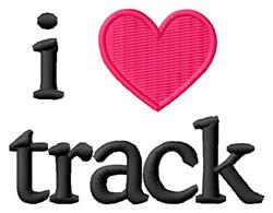 I Love Track embroidery design