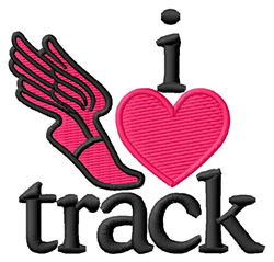 I Love Track/Winged Foot embroidery design