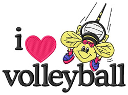 I Love Volleyball/Bee embroidery design