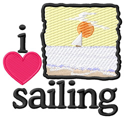 I Love Sailing/Scene embroidery design