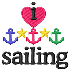 I Love Sailing/Anchors embroidery design