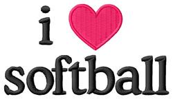 I Love Softball embroidery design