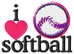 I Love Softball/Ball embroidery design