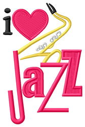 I Love Jazz/Sax embroidery design