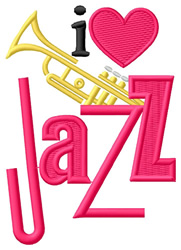 I Love Jazz/Trumpet embroidery design