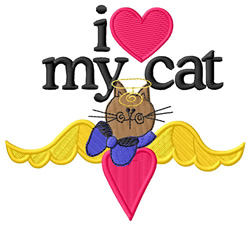 I Love My Cat/Angel Cat embroidery design