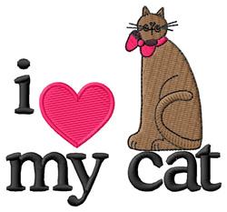 I Love My Cat/Folk Art Cat embroidery design