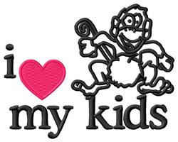 I Love My Kids/Monkey embroidery design