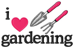 I Love Gardening/Tools embroidery design