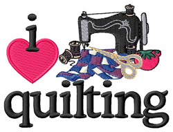 I Love Quilting embroidery design