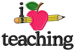 I Love Teaching/Apple & Pencil embroidery design