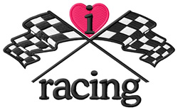 I Love Racing/Checkered Flags embroidery design