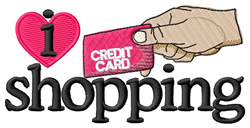 I Love Shopping/Credit Card embroidery design