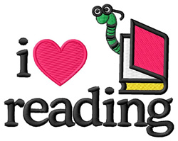 I Love Reading/Bookworm embroidery design