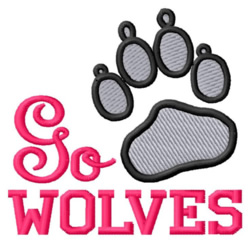 Go Wolves embroidery design